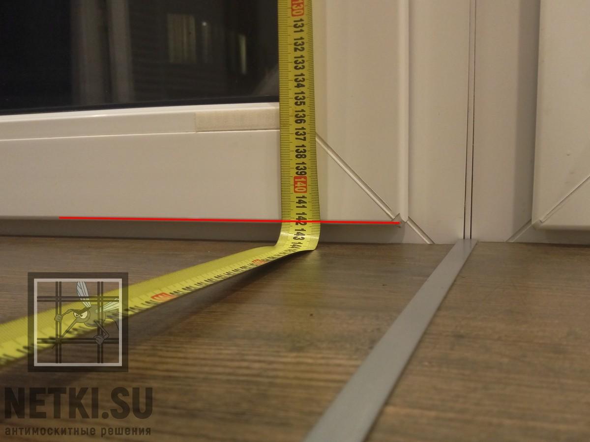 1. Измеряем высоту створки